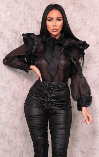 Black Organza Mesh Ruffle Shoulder Button Up Top - Eliza