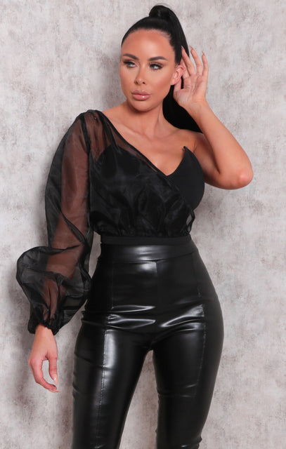 Black Organza One Shoulder Sleeve Crop Top - Milo