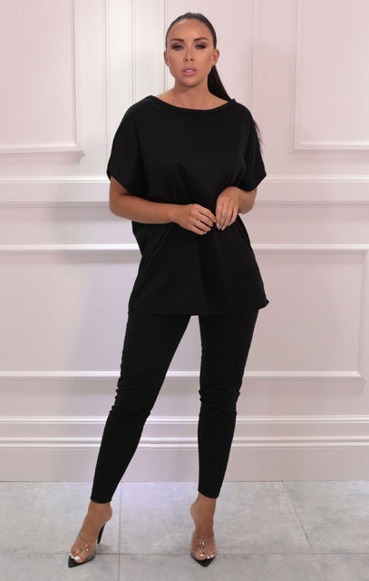 Black Oversize Leggings Loungewear Set - Justine