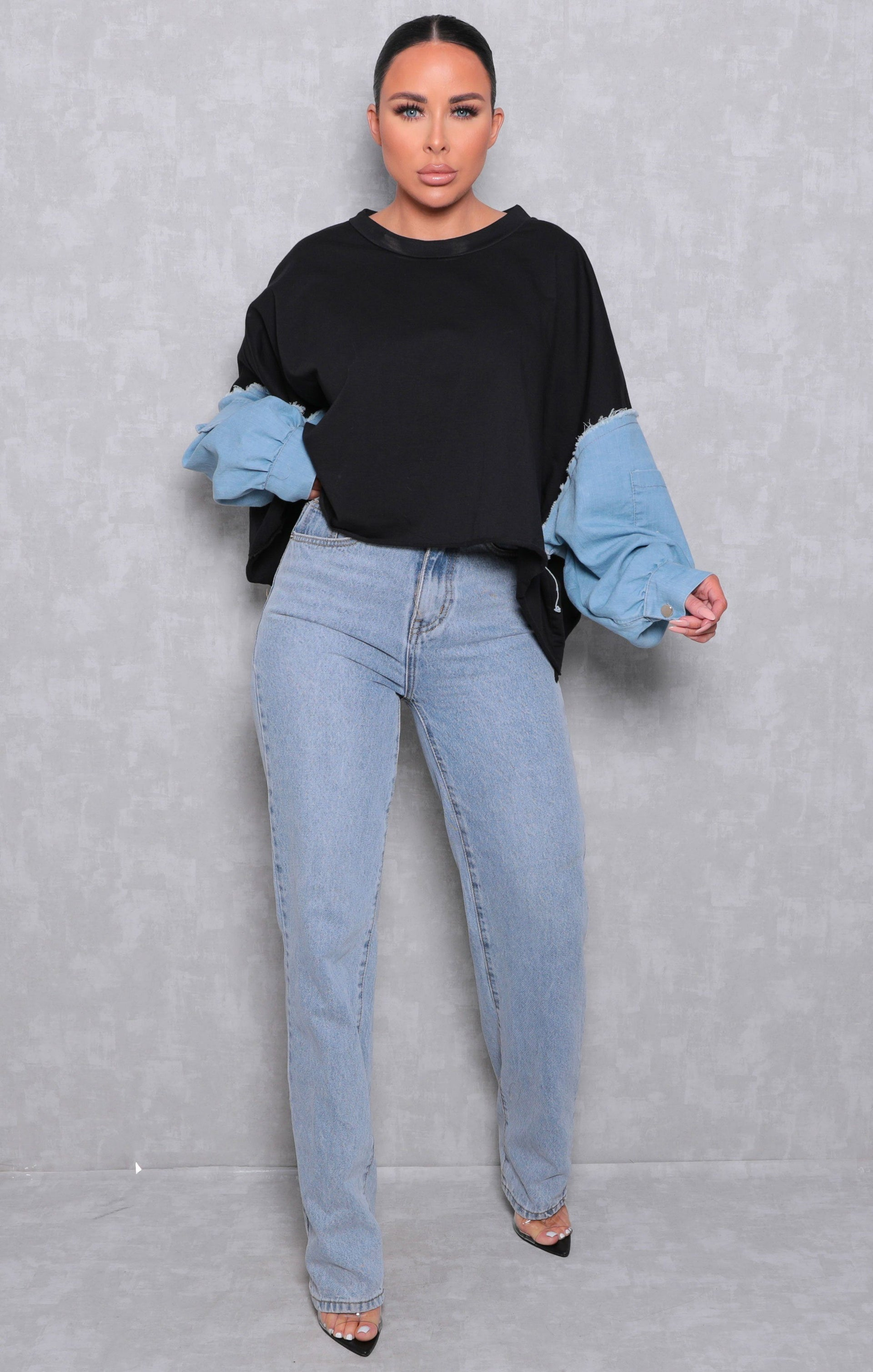 Black Oversized Distressed Denim Sleeve Sweatshirt - Diana