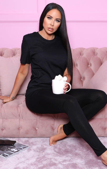 Black Oversized T-Shirt & Leggings Loungewear Set - Everleigh