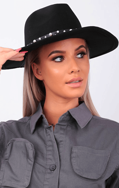 Black Pearl Embellished Trim Fedora Hat - Princess