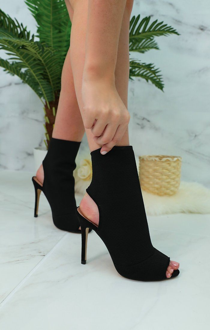 Black Peep Toe Sock Heel Ankle Boots - Rosabel