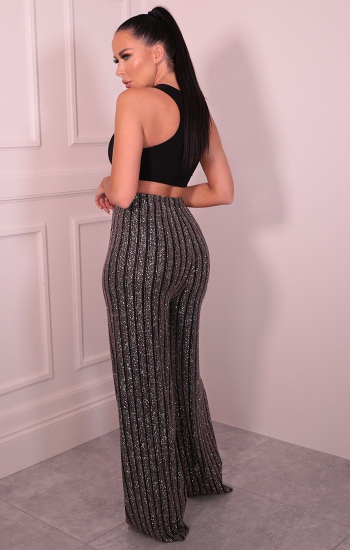 Black & Pink Sparkle Stripe Wide Leg Trousers - Quinn