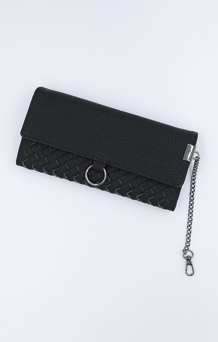 Black Pleated Faux Leather Large Purse - Blakely