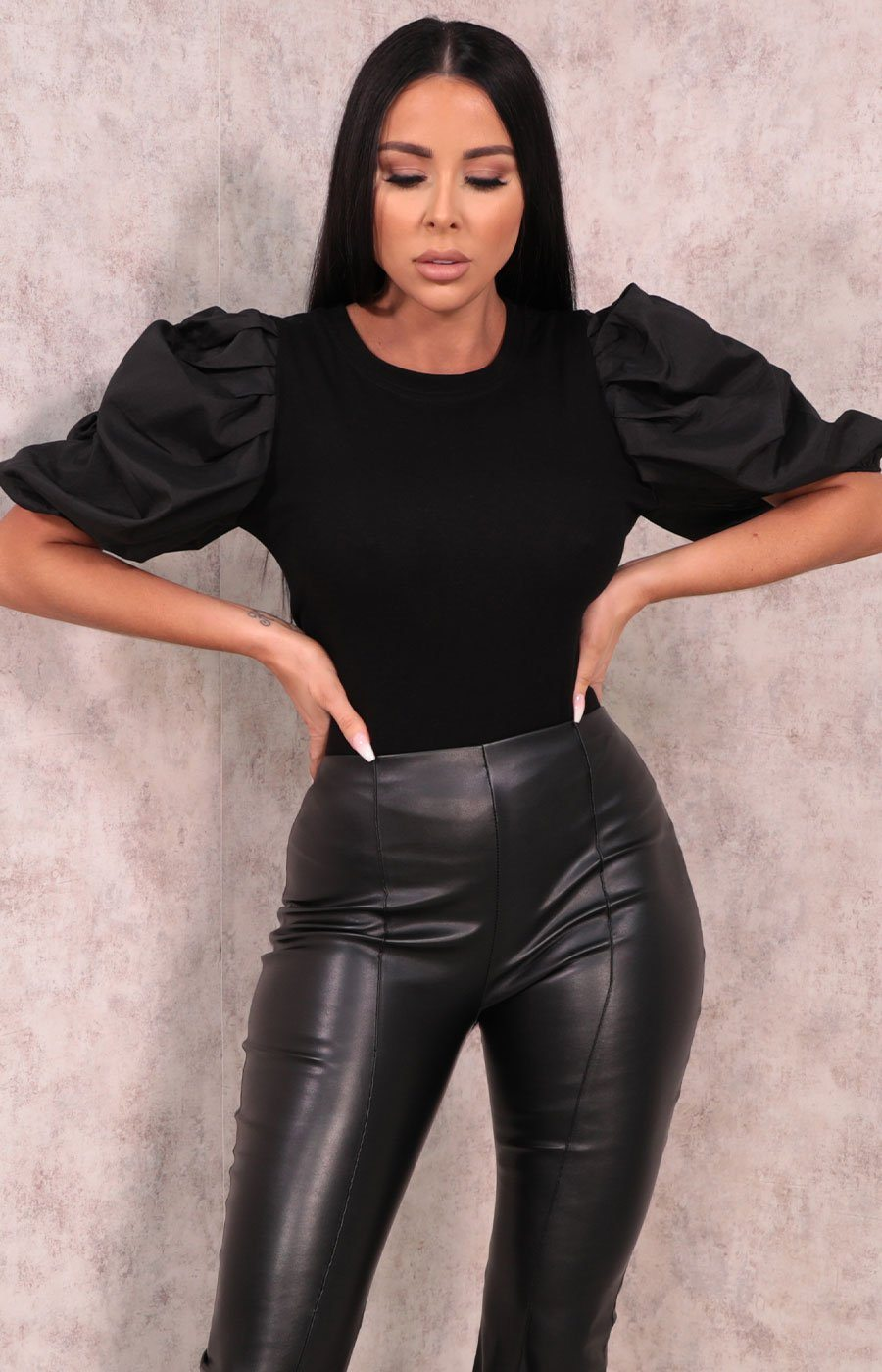Black Pleated Puff Sleeve Top - Vanessa