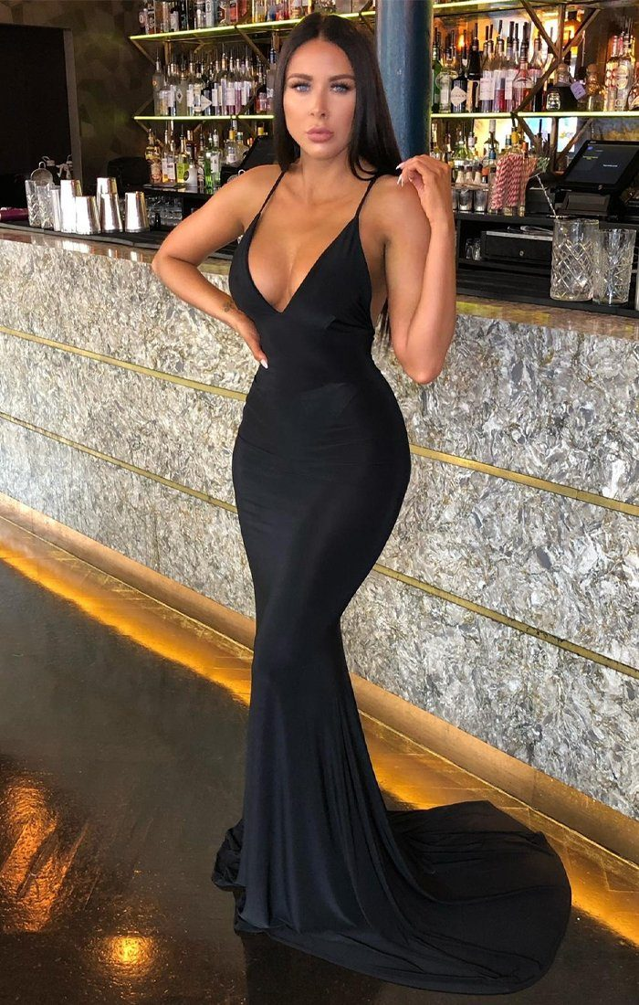 Black Plunge Crossover Back Maxi Dress - Nancy