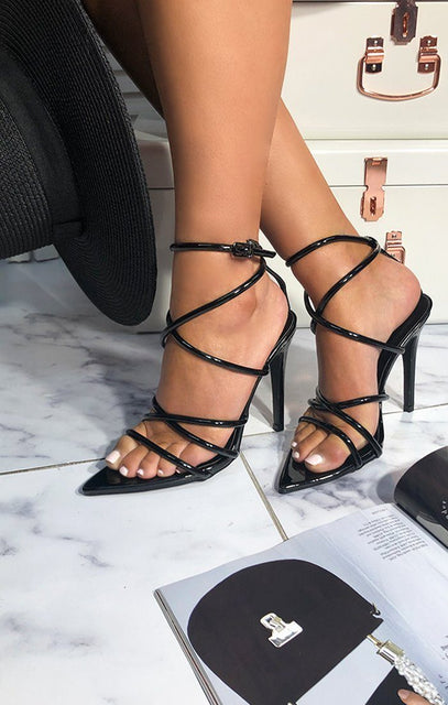 Black Pointed Lace Up Heels - Velma