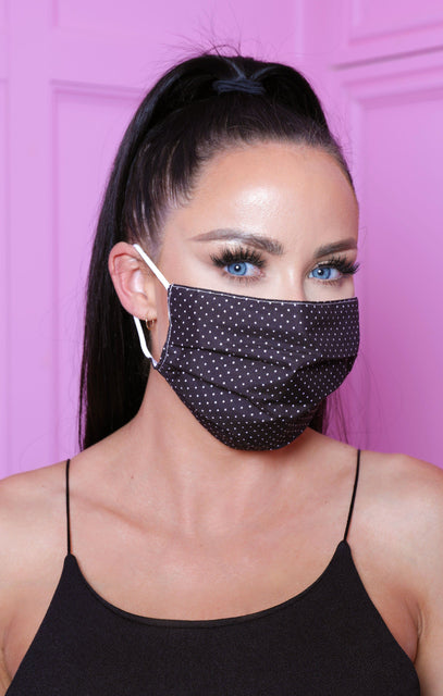 Black Polka Dot Print Cotton Washable Hygiene Mask