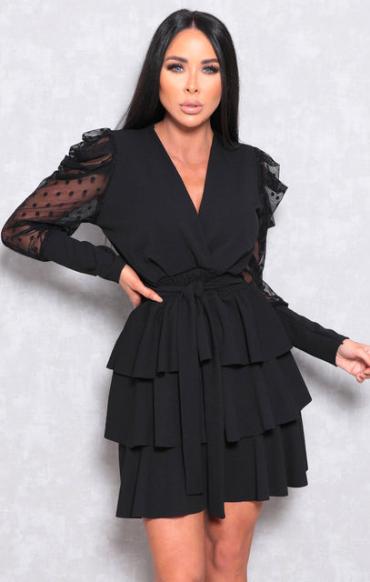 Black Polka Dot Sleeve Ruffle Tiered Mini Dress - Nakia