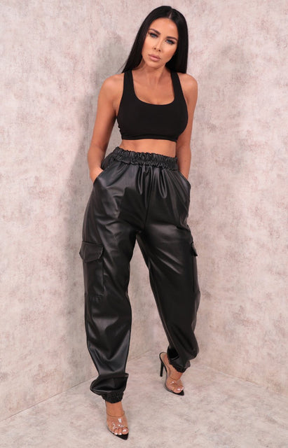 Black PU Cuffed Trousers - Laura