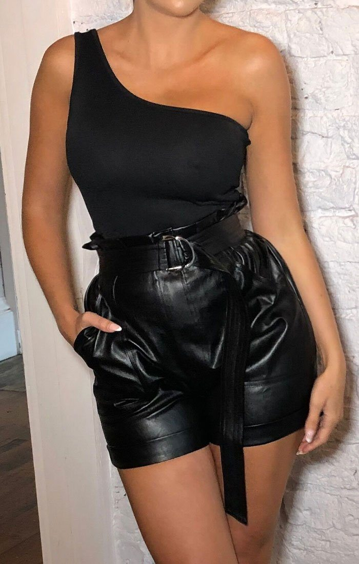 Black PU D-Ring High Waisted Shorts - Badia