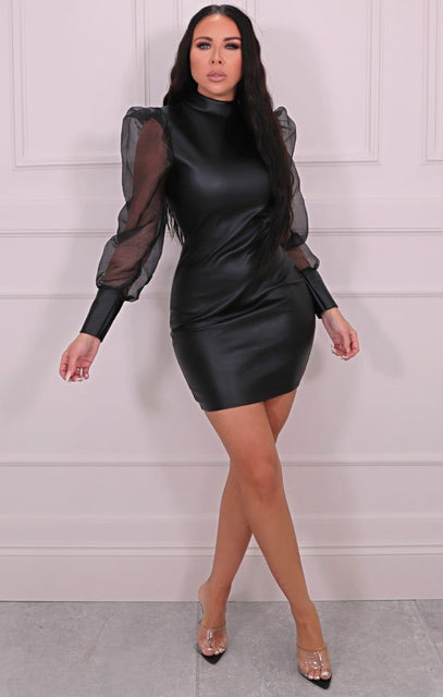 Black PU High Neck Organza Puff Sleeve Mini Dress - Naya