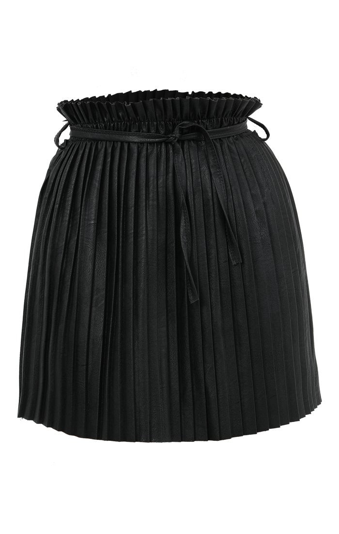 Black PU Pleated Skirt - Frances