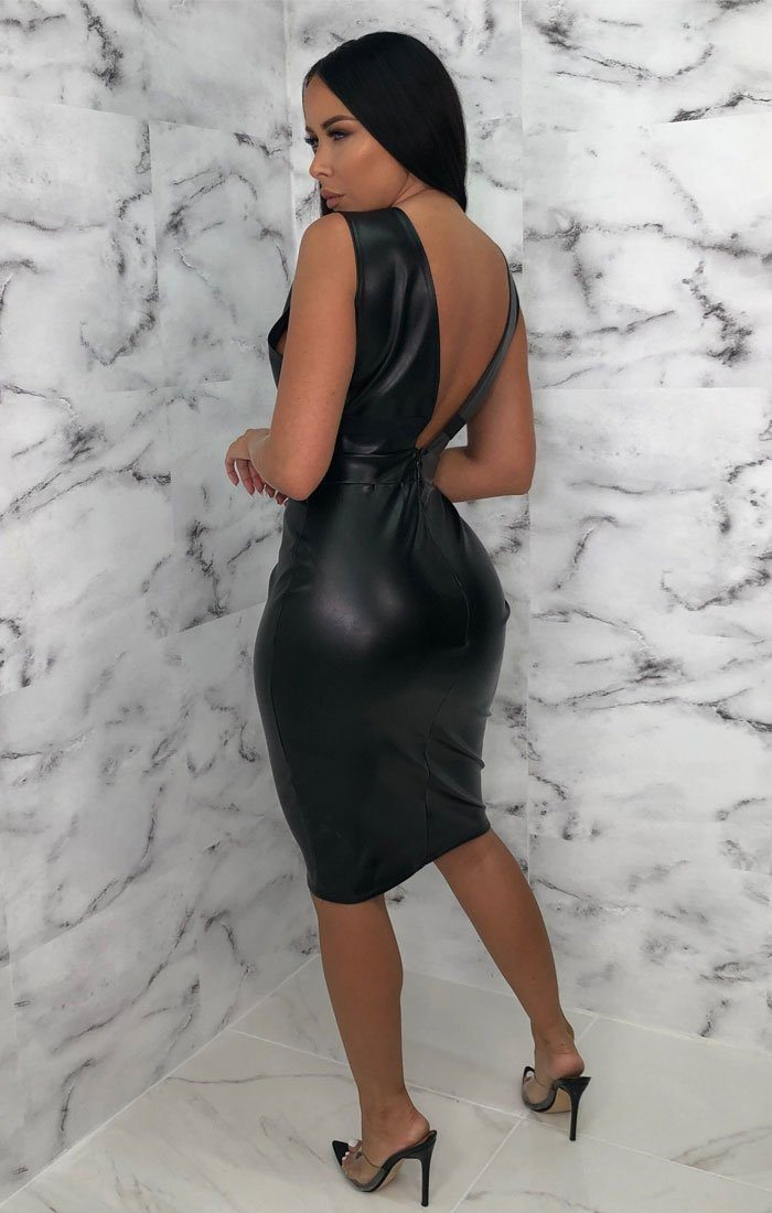 Black PU Plunge Bodycon Mini Dress - Sarai