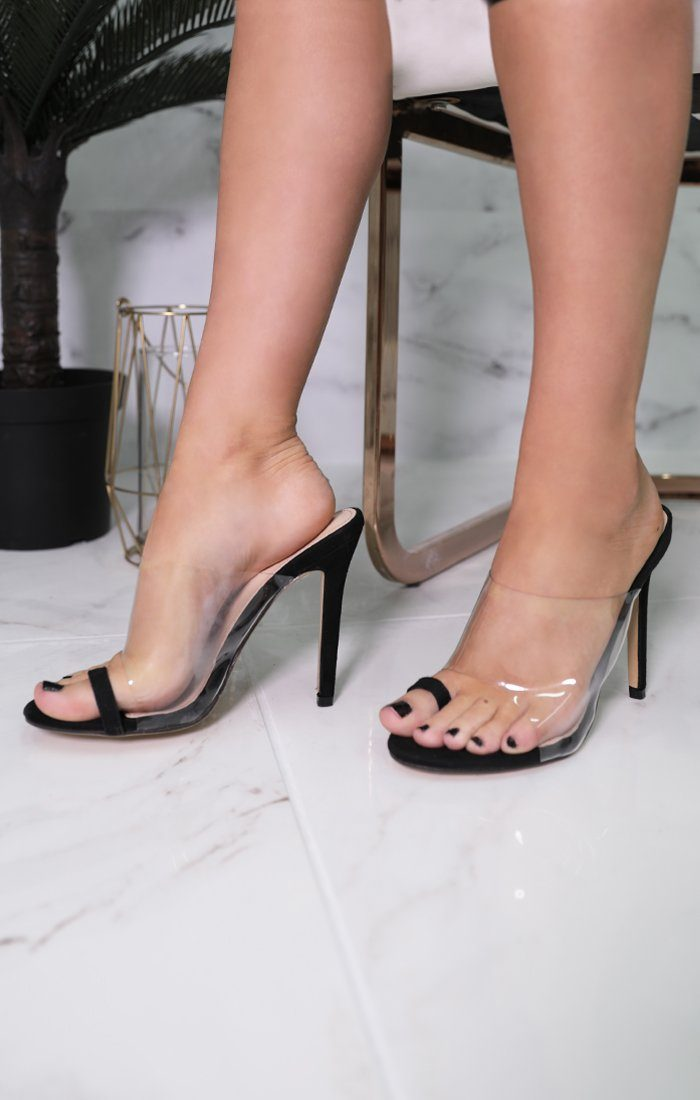 Black PU Toe Ring Clear Mules - Gilia