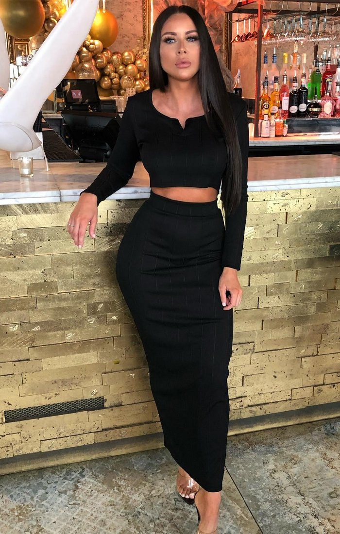 Black Ribbed Bandage Top & Maxi Skirt Co-ord - Bailee