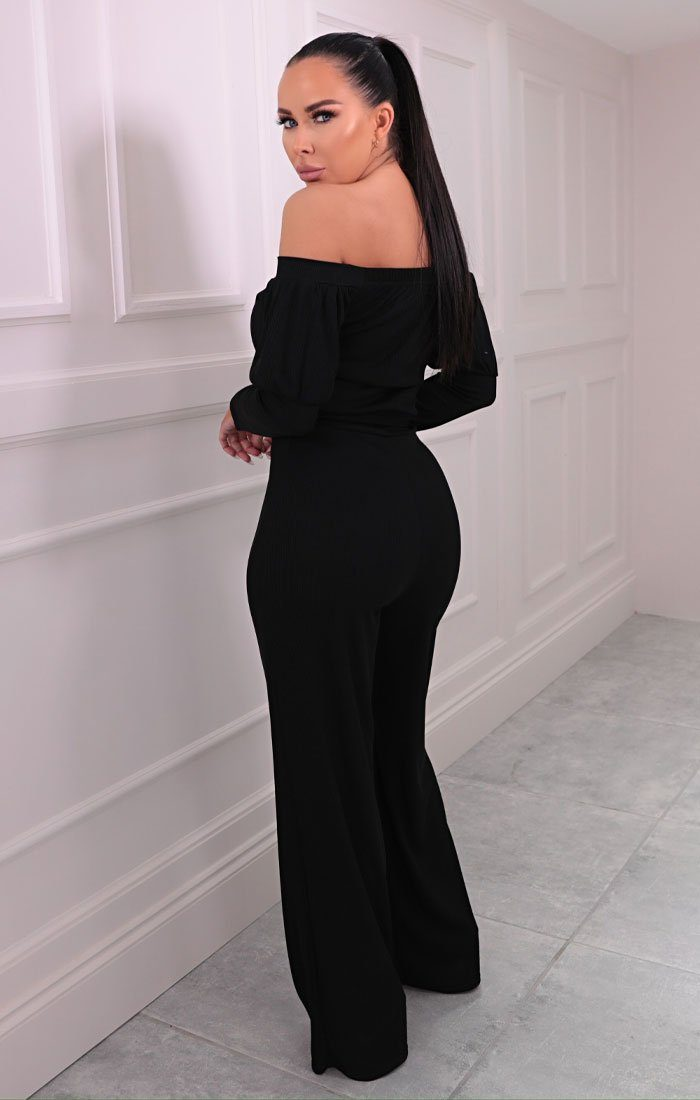 Black Ribbed Bardot Belted Wide Leg Jumpsuit - Bell