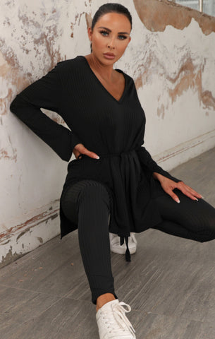 Black Belted Loungewear Sets