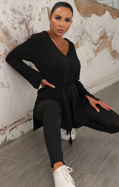 Black Ribbed Belted Loungewear Set - Asia