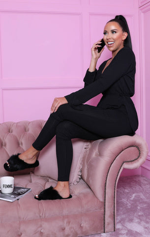 Black Long Sleeve Loungewear Sets