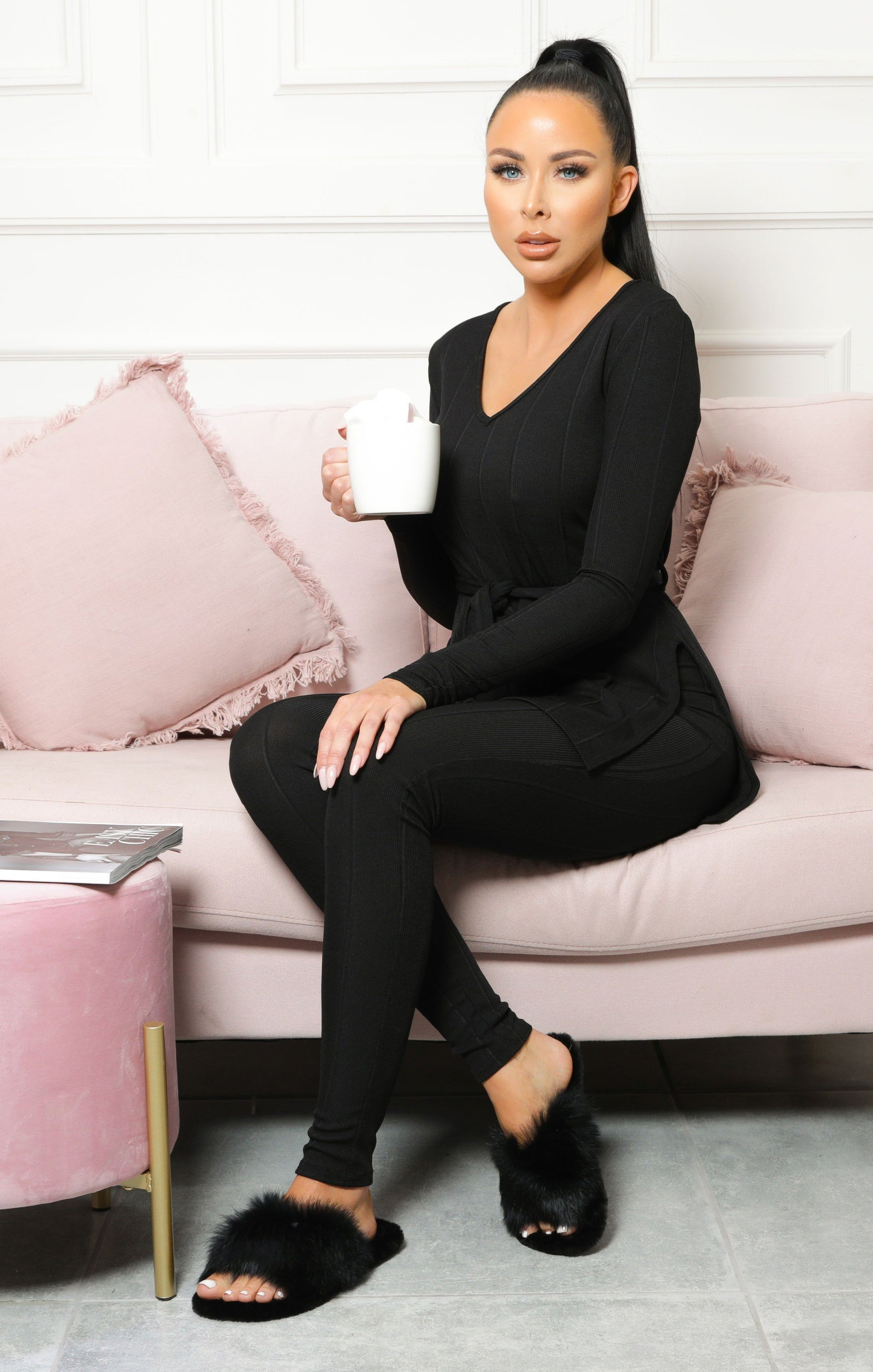 Black Ribbed Belted Loungewear Set - Leah