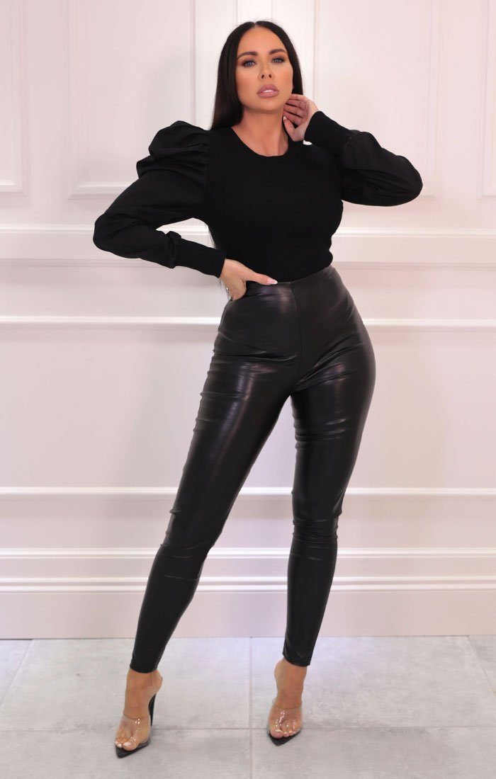 Black Ribbed Cuffed Long Sleeve Bodysuit - Eagan
