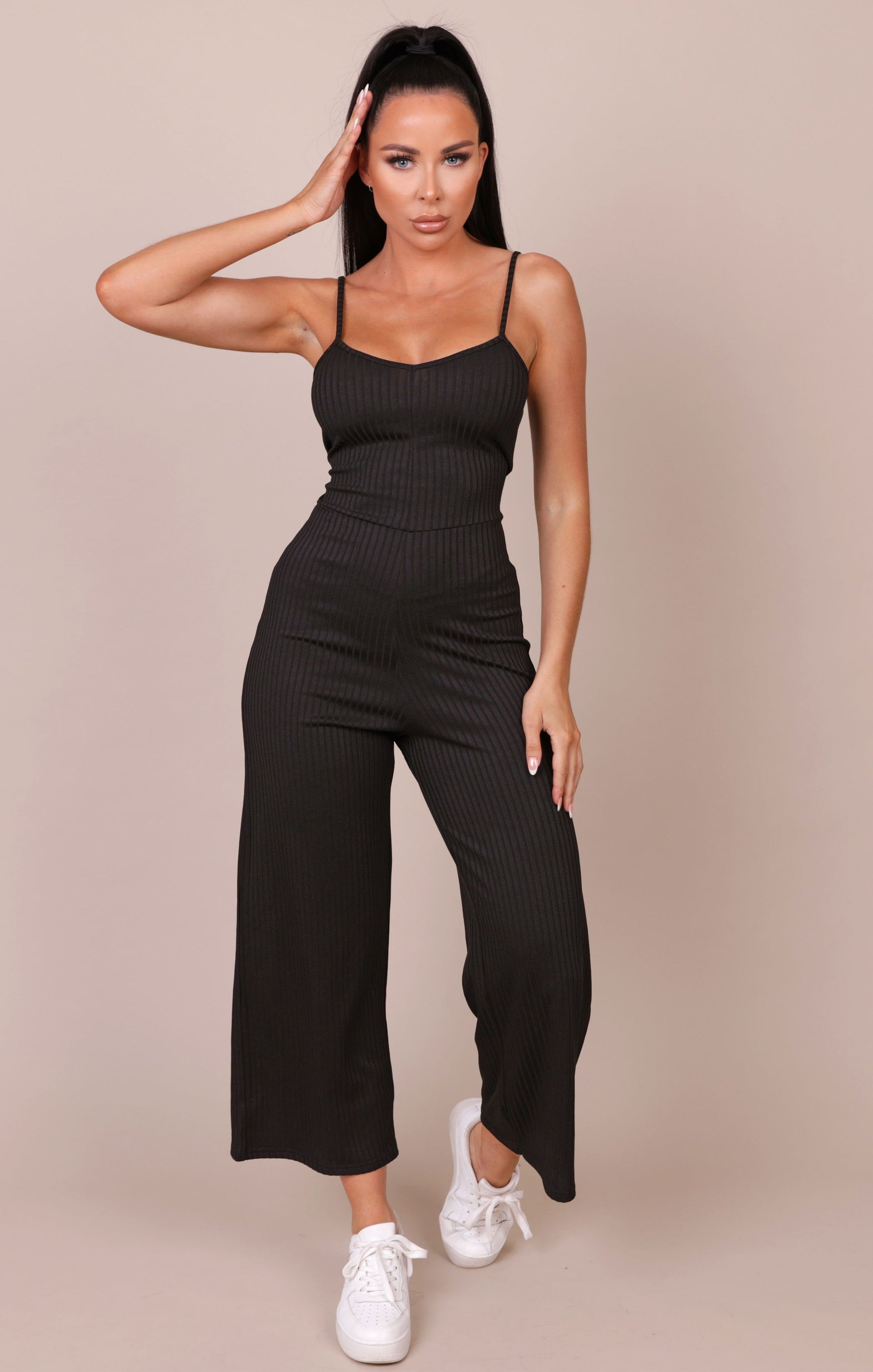 Black Ribbed Flare Leg Jumpsuit - Aly NO PRICE DONT PUT LIVE