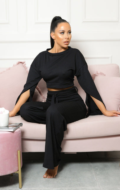 Black Ribbed Flare Sleeve Loungewear - Neveah