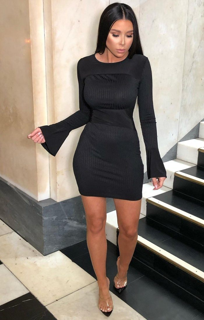 Black Ribbed Frill Sleeve Bodycon Dress - Tilley