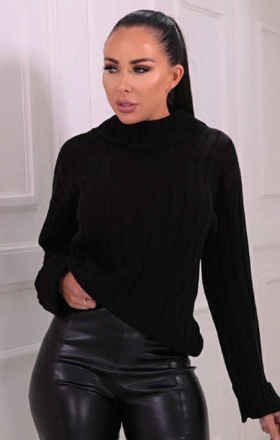 Black Ribbed Knitted Long Sleeve Jumper - Posie