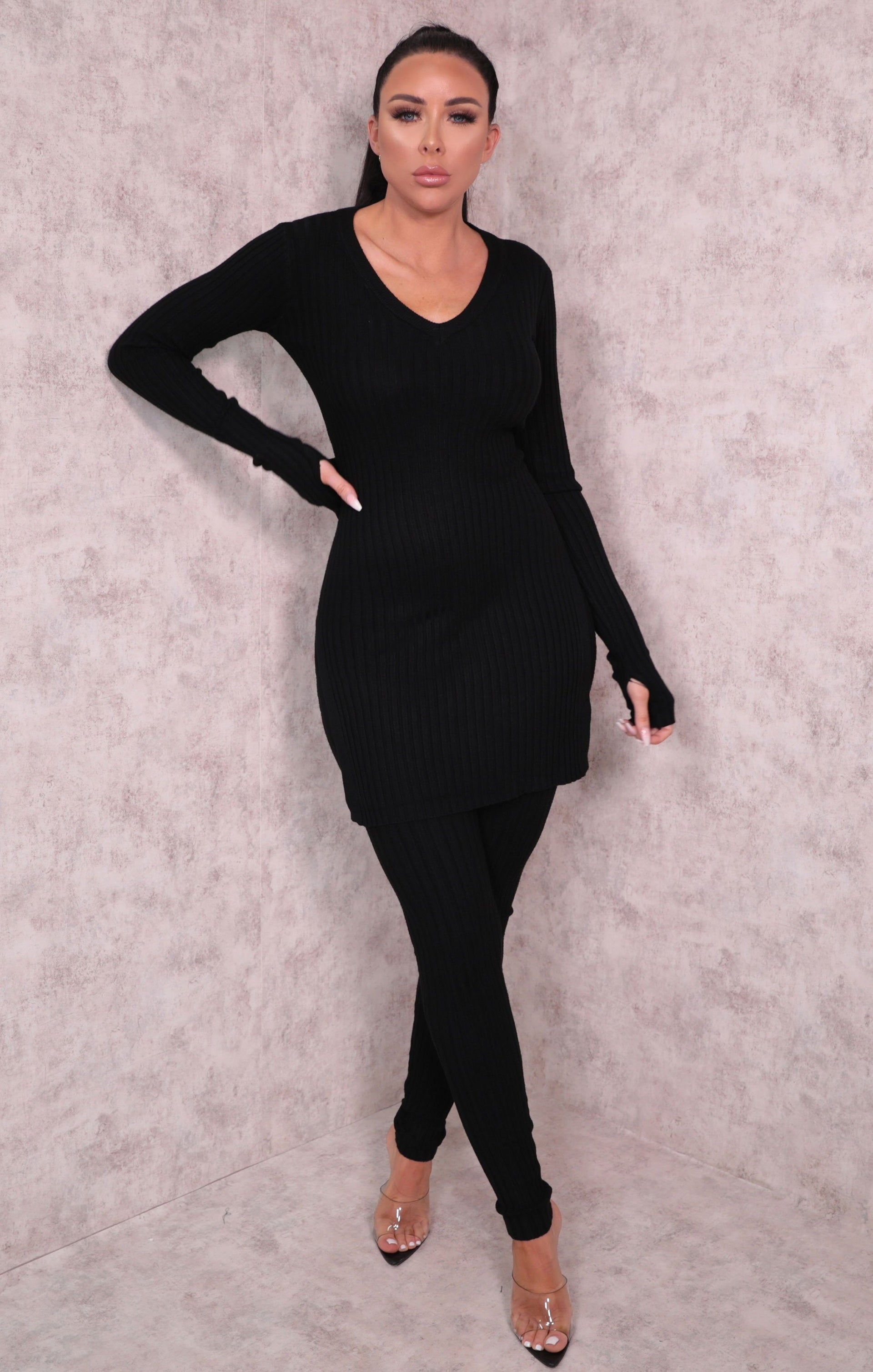 Black Ribbed Knitted V-Neck Leggings Loungewear Set - Lannie