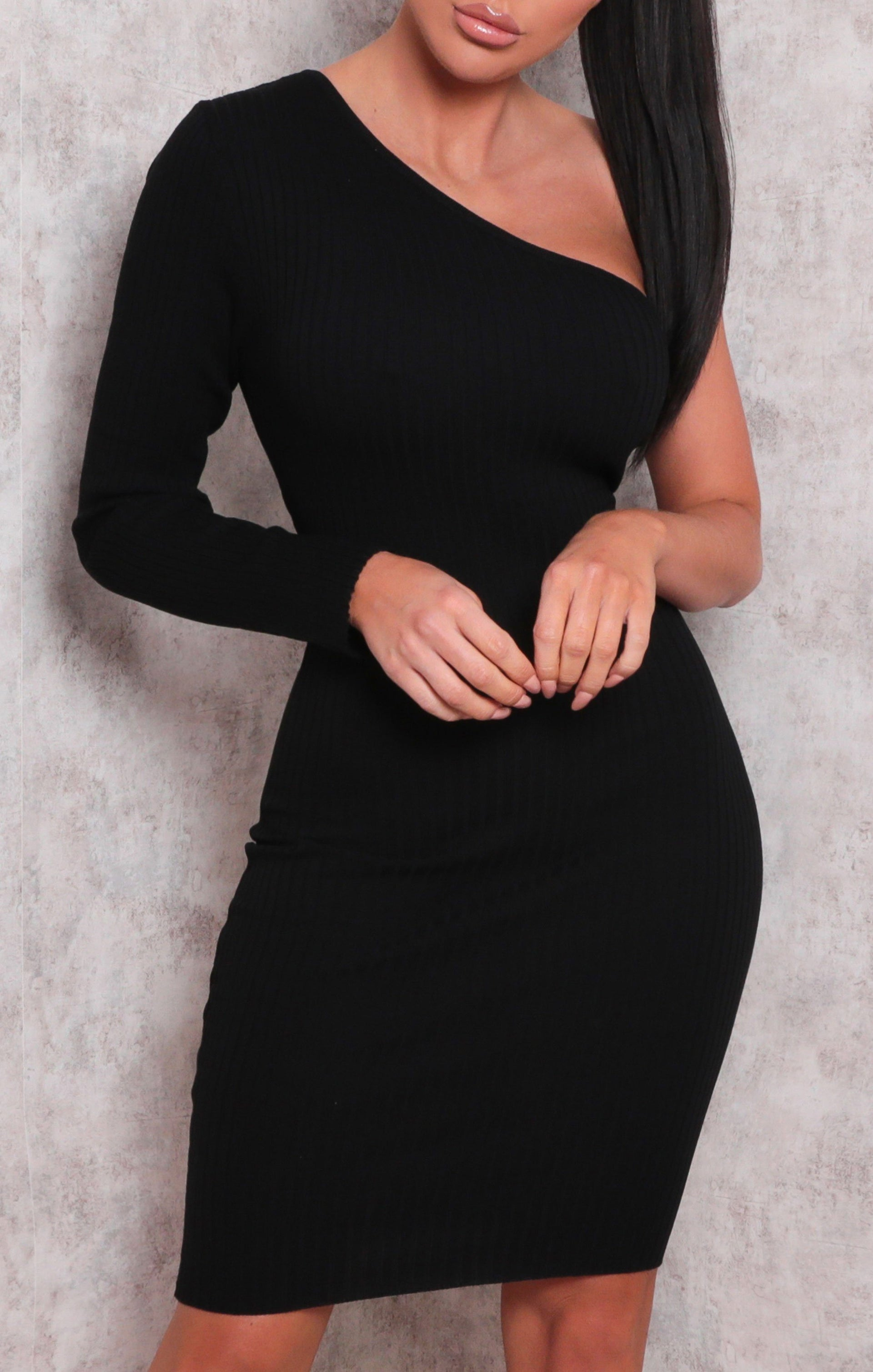 Black Ribbed One Shoulder Bodycon Mini Dress - Sabrina