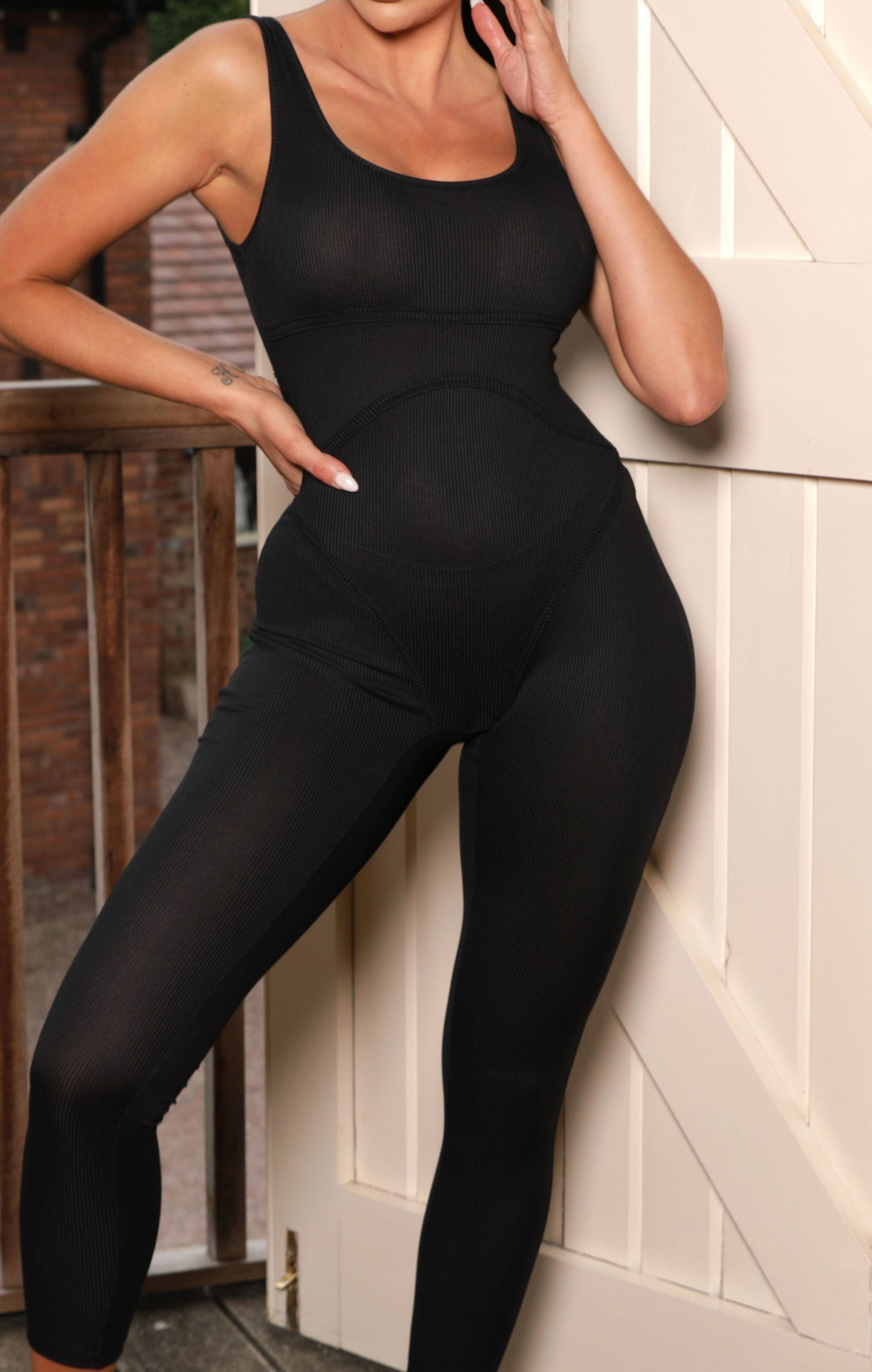 Black Ribbed Seam Detail Jumpsuit - Paola
