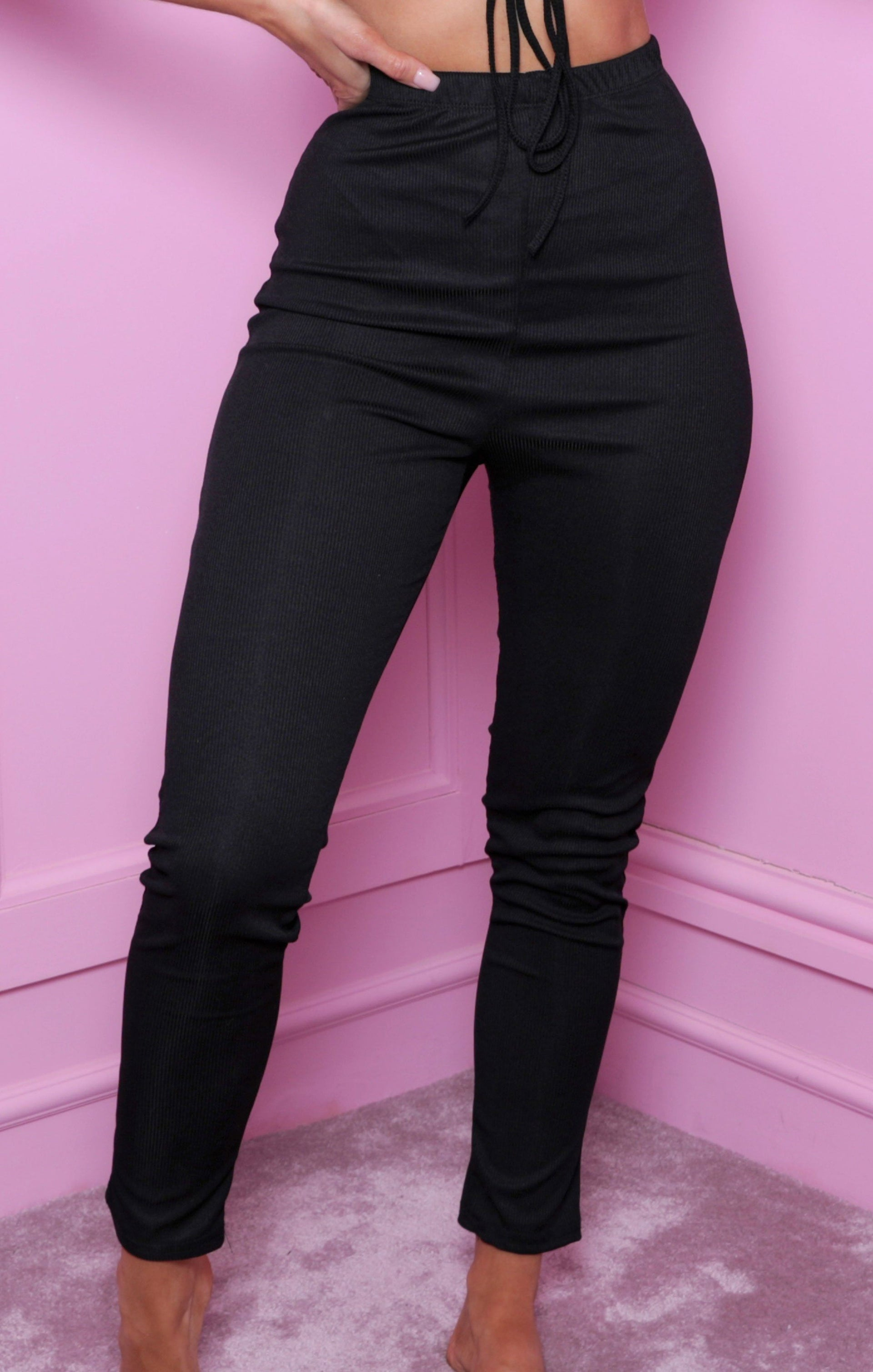 Black Ribbed Utility Crop Top & Leggings Co-ord - Brielle