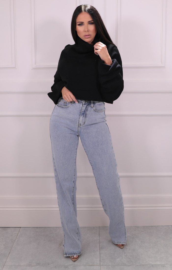 Black Roll Neck Cropped Knitted Jumper - Alva