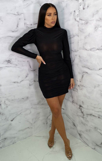 Black Ruched High Neck Bodycon Mini Dress - Peyton
