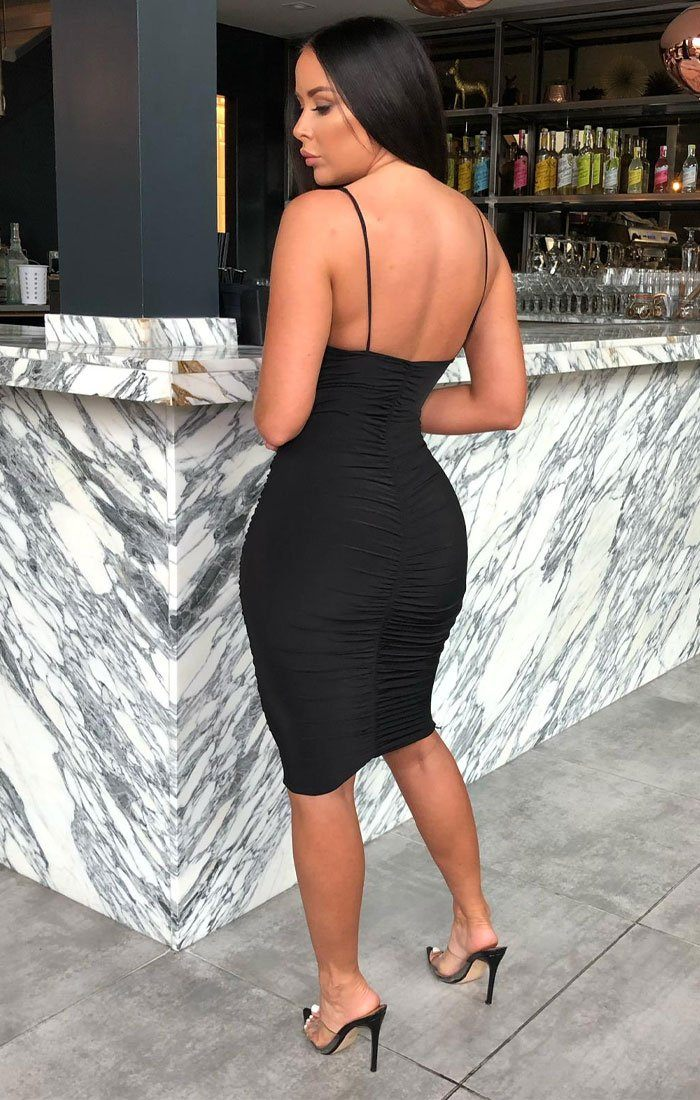 Black Ruched Knee Length Bodycon Dress - Taylor