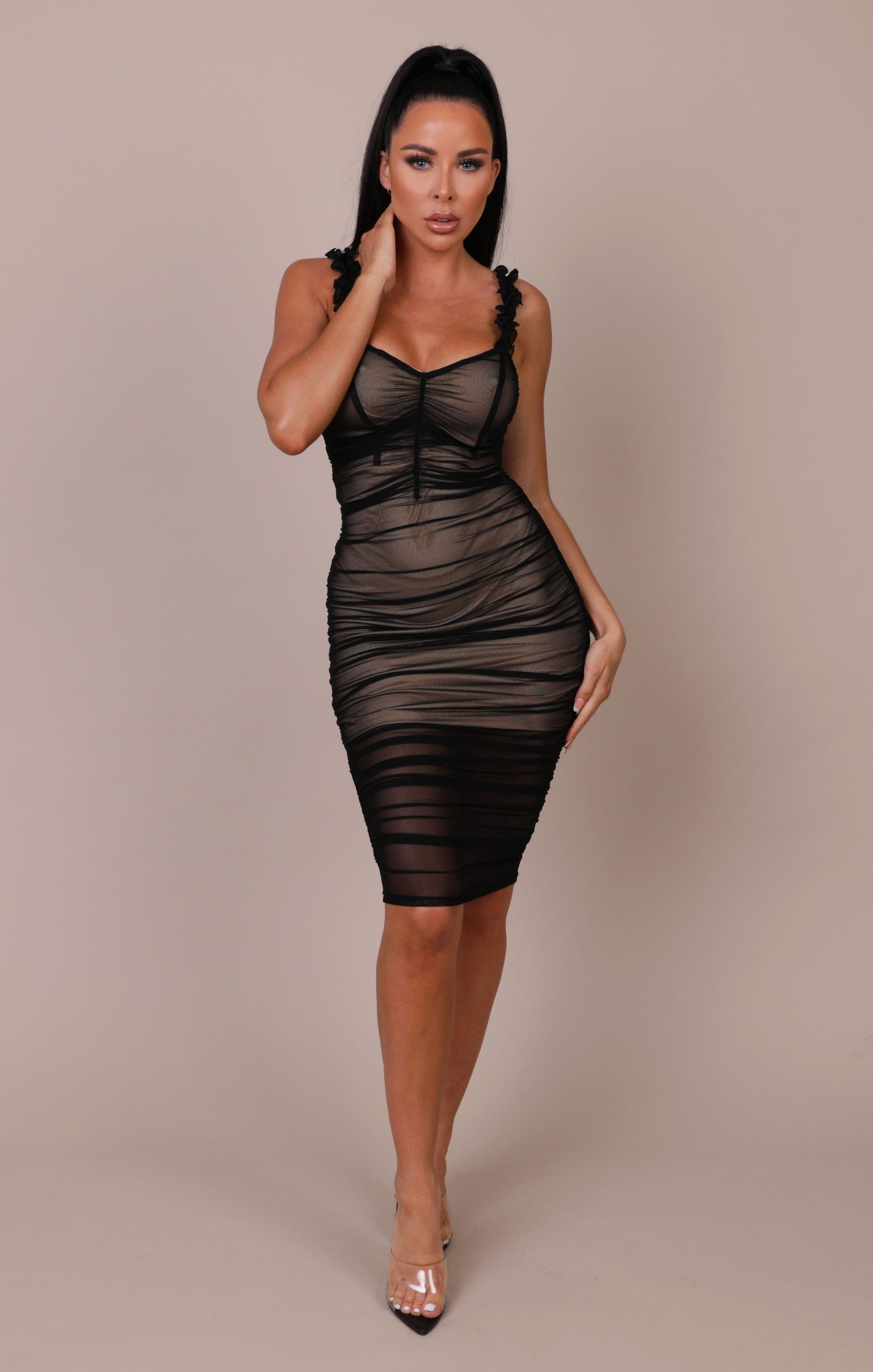 Black Ruched Mesh Bodycon Mini Dress - Arlette