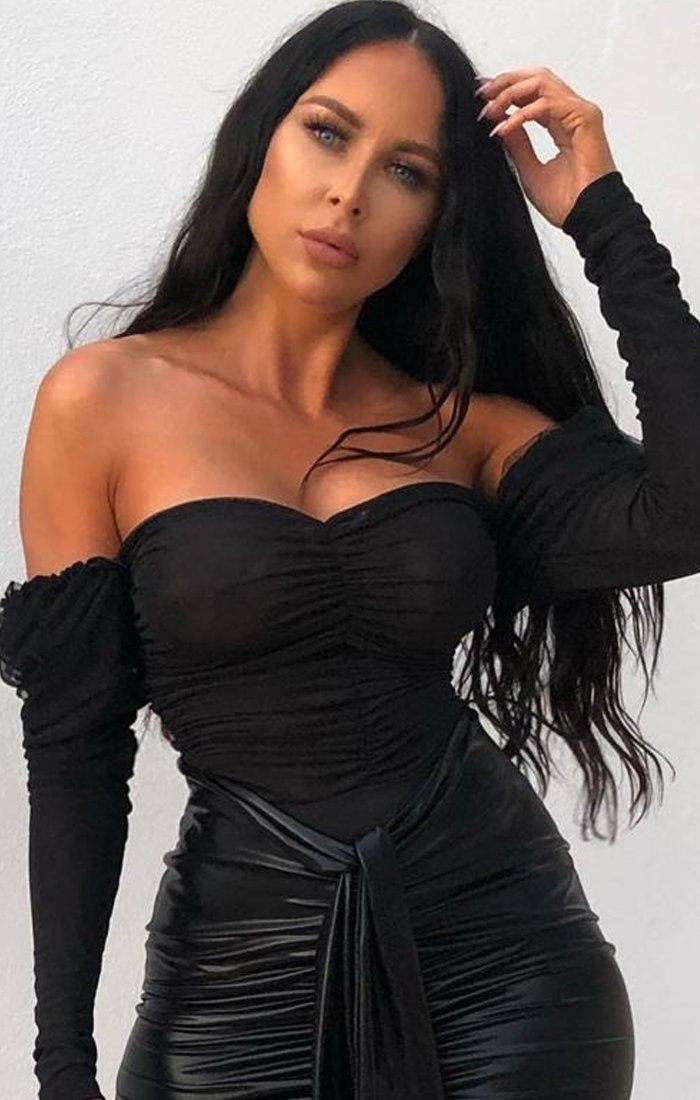 Black Ruched Mesh Off The Shoulder Bodysuit - Kara