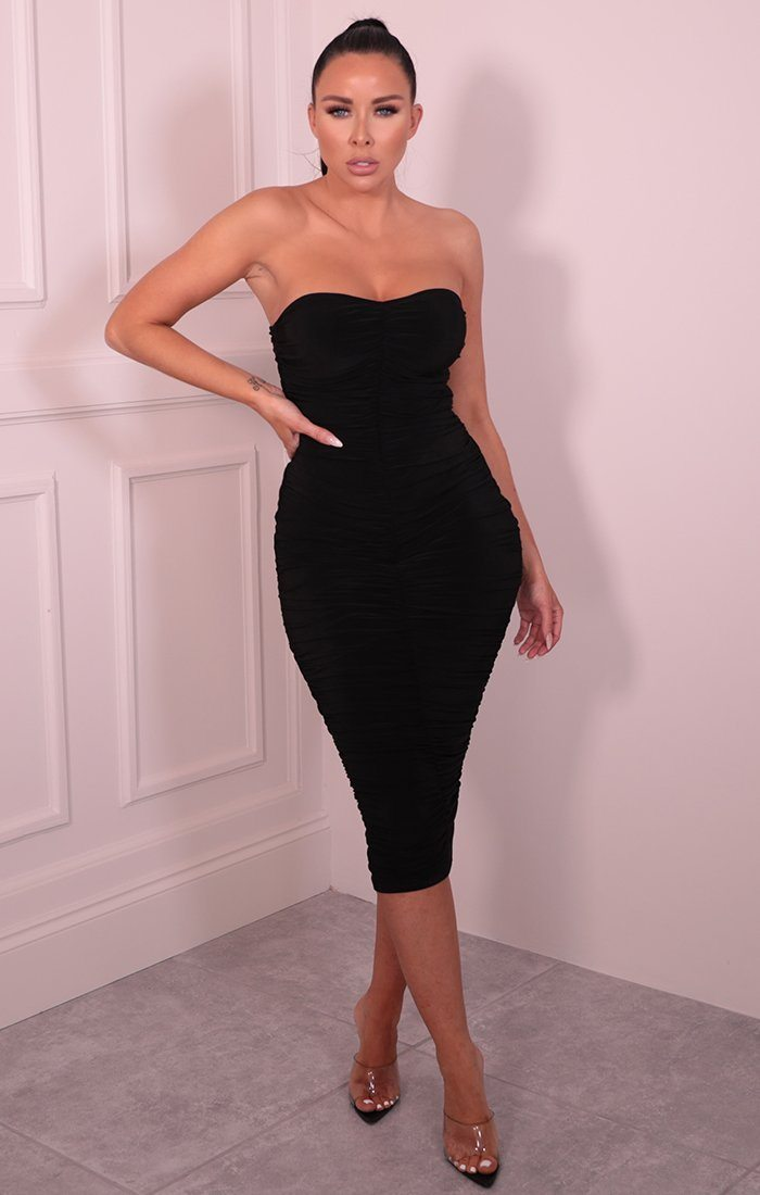 Black Ruched Strapless Slinky Midaxi Dress - Pascal