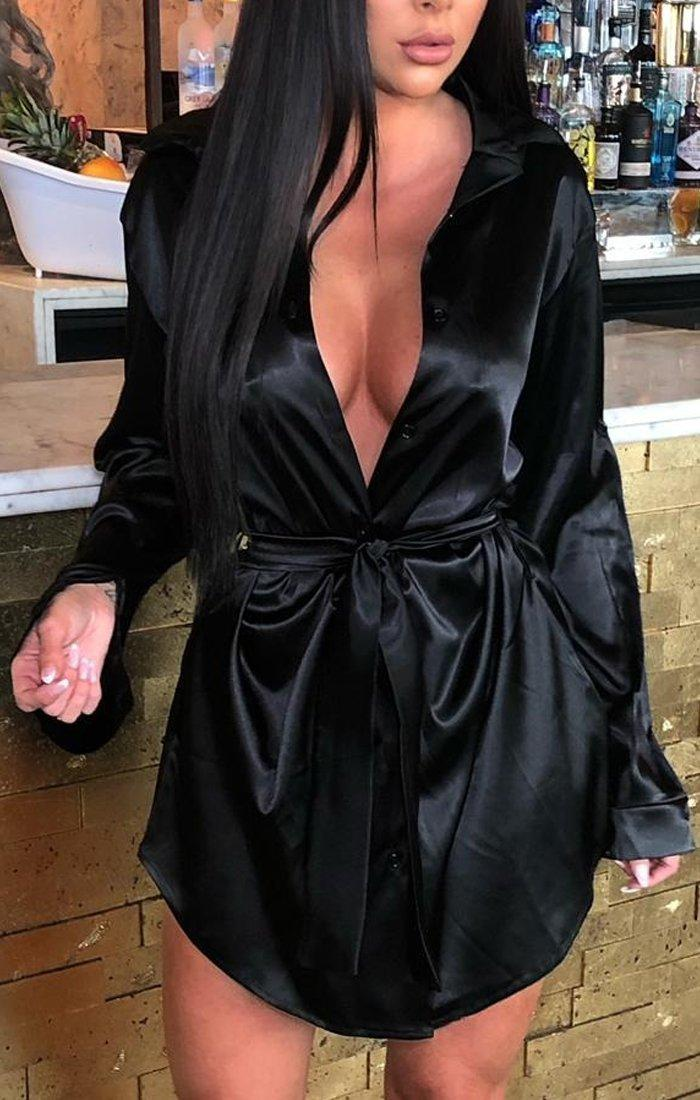 Black Satin Belted Shirt Dress - Aleah