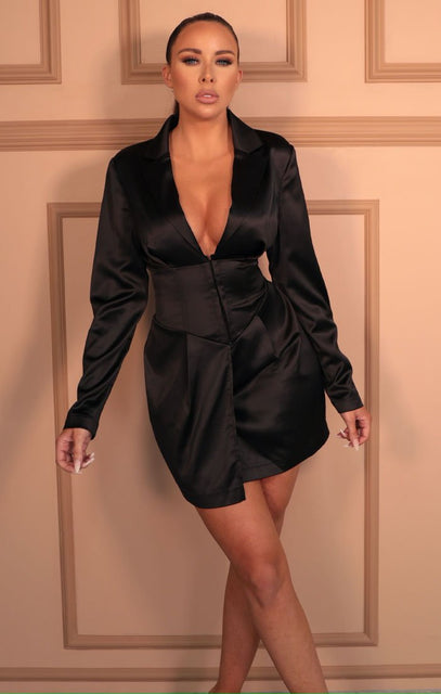 Black Satin Corset Plunge Mini Blazer Dress - Luna