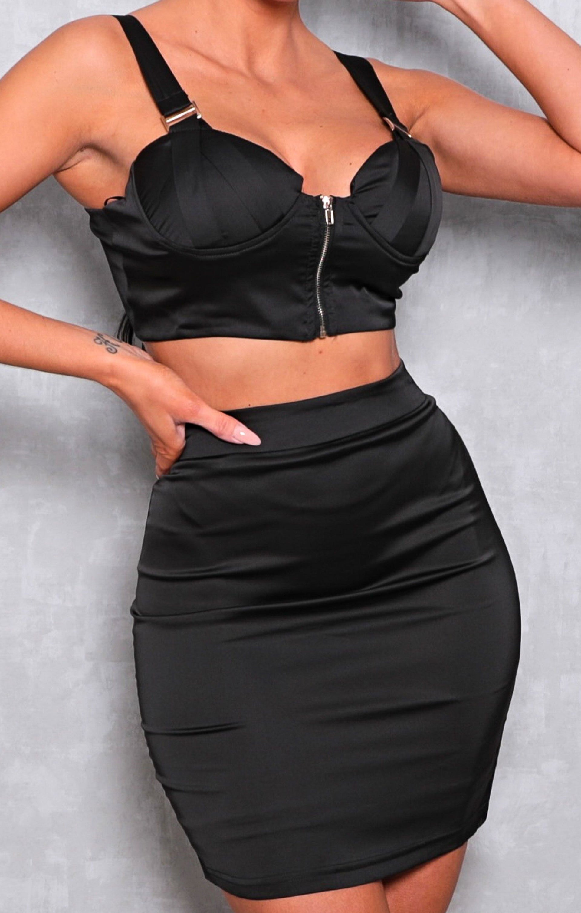 Black Satin Cupped Bralette Mini Skirt Co-ord - Gretchen