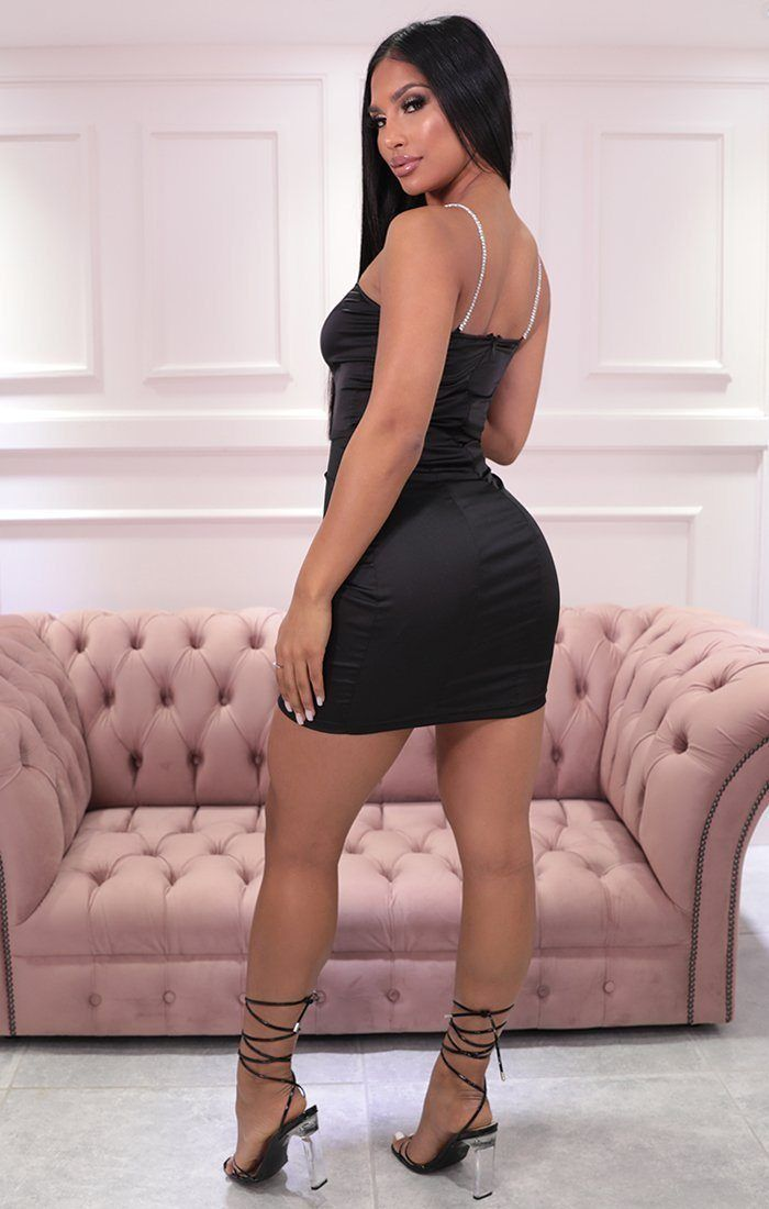 Black Satin Diamante Strap Bodycon Mini Dress - Naomi