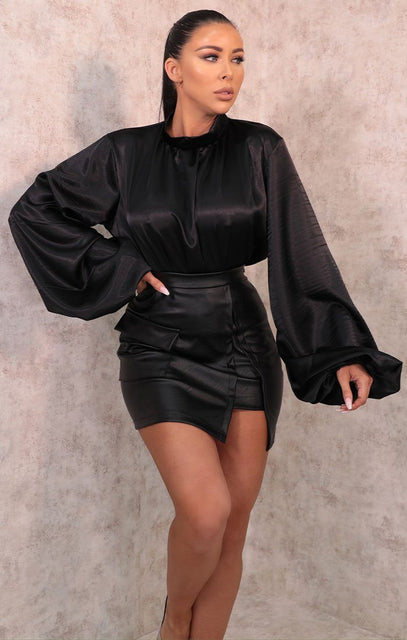 Black Satin High Neck Balloon Sleeve Top - Joanne