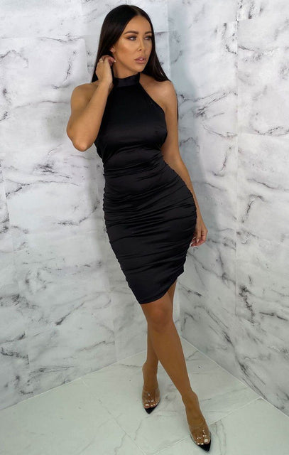 Black Satin High Neck Choker Bodycon Mini Dress - Velma