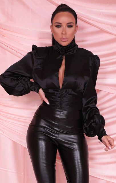 Black Satin High Neck Split Front Crop Top - Jessi