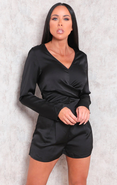 Black Satin Long Sleeve Twist Front Playsuit - Patrica