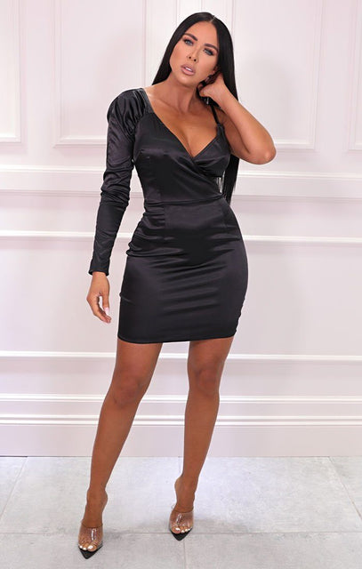 Black Satin One Sleeve Plunge Bodycon Mini Dress - Morgan